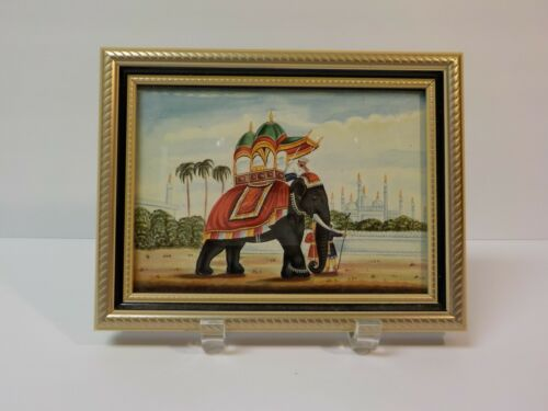 19th C. Miniature Original Watercolor Painting, Elephant Scenic (#1)