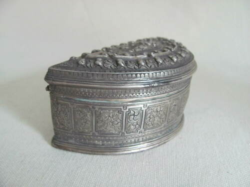 Antique Burmese Repoussed Silver Hinged Betel Box from Myanmar