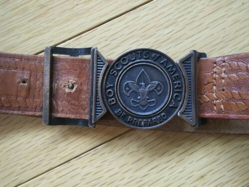 Vintage Boy Scouts of America Official Tooled Leather Belt 1950s No. 522