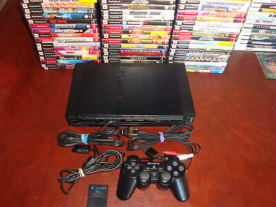 SONY PLAYSTATION 2 BLACK FAT OR SLIM CONSOLE PS2 LOT BUNDLE