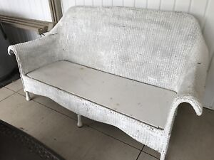 White real wicker couch