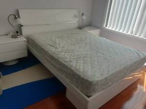 White Queen Bed with Mattress and side tables & Nightlights