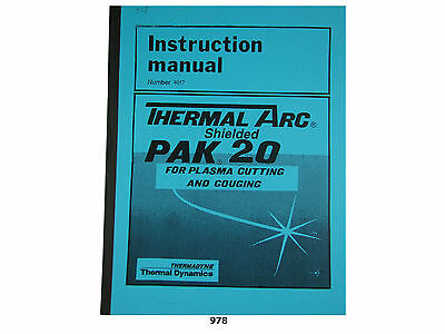 Thermal Dynamics Pak 20 Plasma Cutter Instruction Manual 978