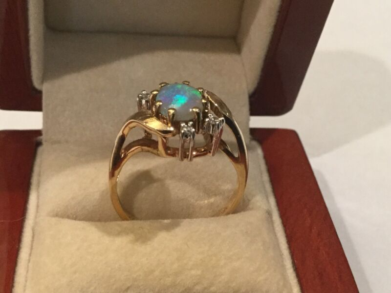 VINTAGE FIERY OPAL DIAMOND 14K YELLOW GOLD RING SIZE 6.75 3.9 grams
