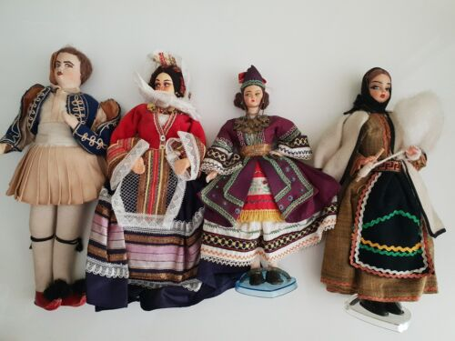 Handmade dolls in traditional Greek costumes made in Greece