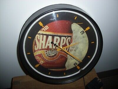 "Vintage MILLER SHARP'S Non-Alcoholic Brew Beer 16"" NEON CLOCK /LIGHT"