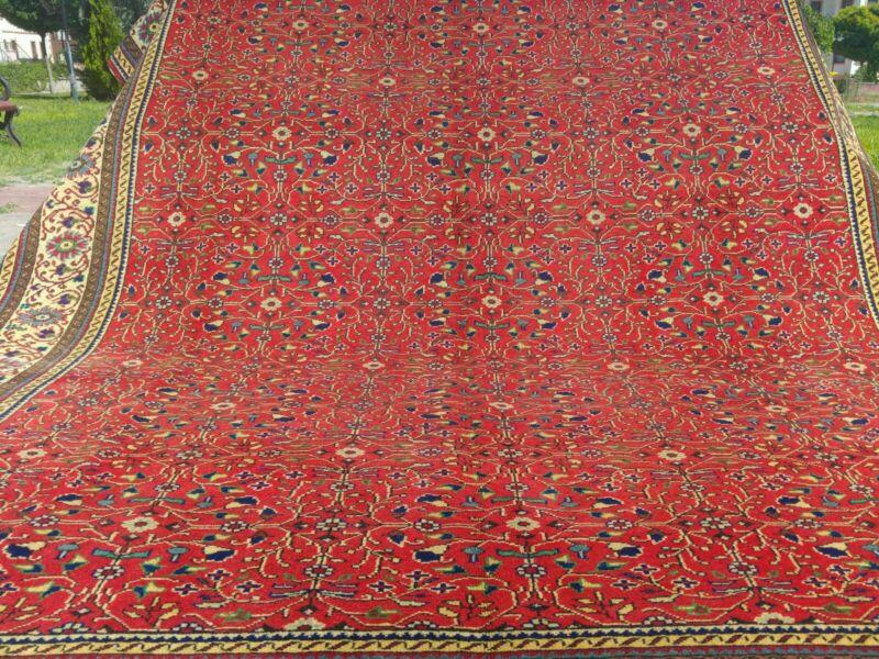 Ca1900-1939s Antique 7x10ft  Natural Red Dyes Wool Pile Hereke Rug