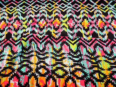 Discount Fabric Challis Rayon Apparel Turquoise Pink Orange Green Aztec G206 - Pink Discount