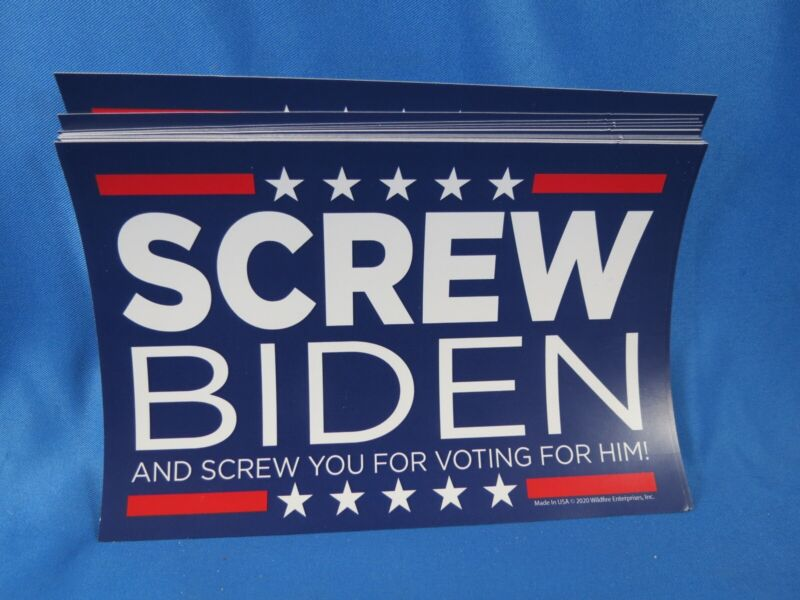 WHOLESALE LOT OF 20 SCREW BIDEN AND YOU FOR VOTING FOR HIM ANTI LIBERAL STICKERS