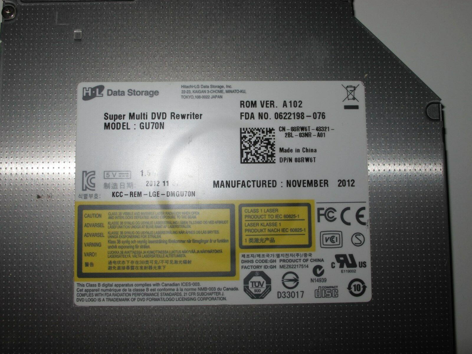 Lecteur graveur dvd+/-rw sata gu70n à tiroir pour pc portable.