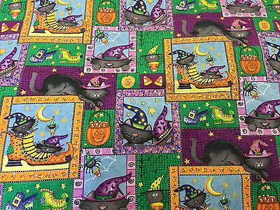 Daisy Kingdom Boo Kitty Halloween Fabric Witch Shoes Boots Cats in Squares BTHY - Halloween Cat Fabric