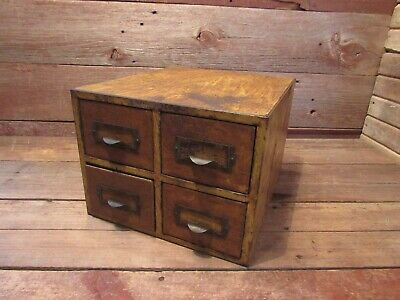Vintage Industrial Small Steel Metal File Cabinet 4-drawer Desk File Steampunk