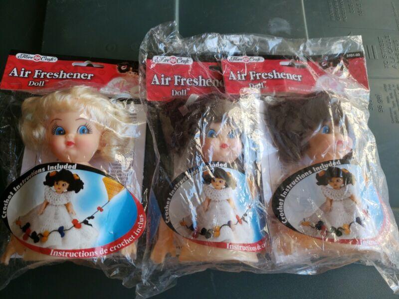 "Lot of 3 Fibre Craft Air Freshener Girl Doll #3101 Vintage 1992, 5-3/4"",  New"