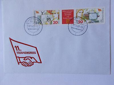 """DDR-Ersttagsbrief mit Ausgabestempel & Marke """" 11.FDGB-Kongress 1987  """""""