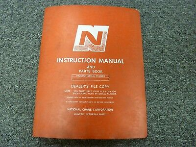 National Crane Series 2 Truck Mounted Crane Parts Catalog Owner Operator Manual