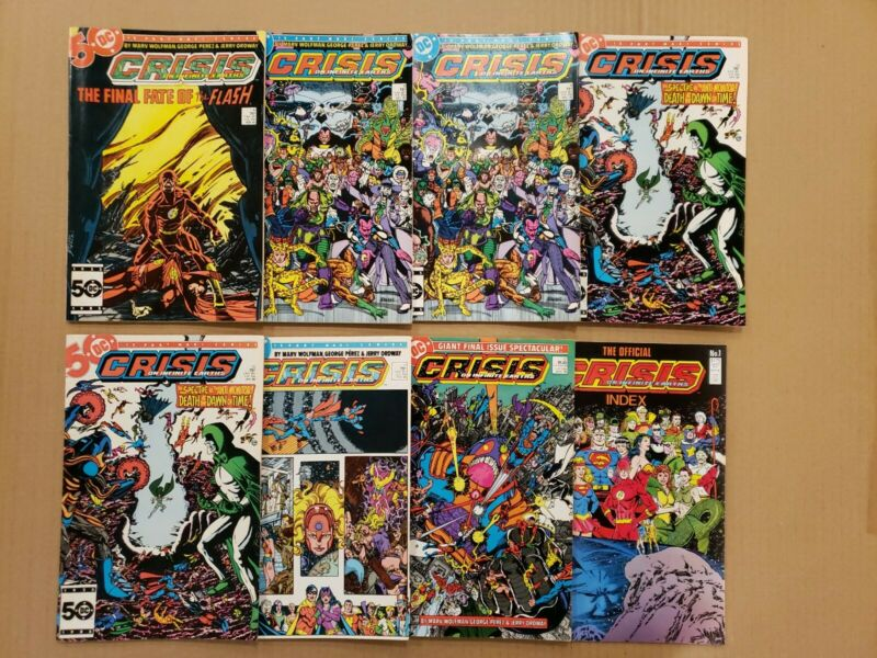 Crisis on Infinite Earths #8-12 plus Index Lot of 8 Death of Flash key VF avg