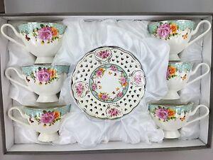 Tea Cups & Saucers Set of 12 Pieces Bone China Mint & White