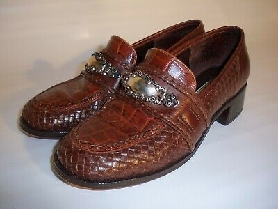 Brighton Woven Brown Leather Loafers Women