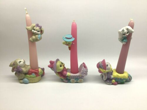 Vintage Ceramic Easter Rabbits and Chicks Candle Climbers Huggers Holder