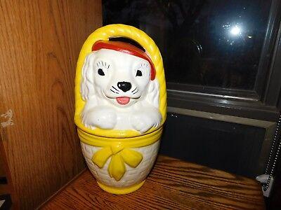 Puppy Dog in Basket Cookie Jar Vintage Unmarked