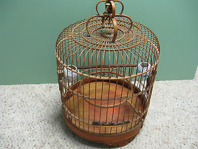 VINTAGE ASIAN BAMBOO BIRD CAGE WITH 2 PORCELAIN FEEDERS