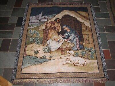 Mohawk Holy Family Nativity Mary Joseph Jesus Xmas Tapestry Throw Blanket NEW Family Tapestry Throw