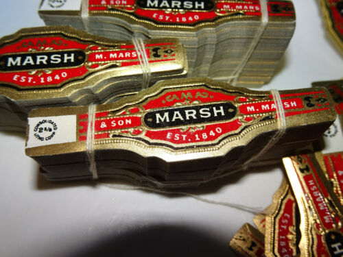 """300+ Lot NOS vtg M MARSH & SON cigar bands - 2 5/8"""" Consolidated Litho Corp"""