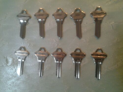 10 Schlage SC1 key blanks, New Ilco brand, for 5 pin, Nickel Plated Brass blank
