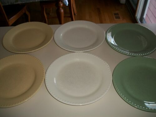6- PC SOUTHERN LIVING GAIL PITTMAN HOSPITALITY DINNER PLATES CREAM BUTTER SAGE