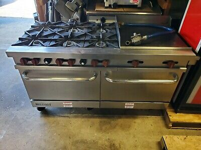 Vulcan V60f Commercial Gas Range 6 Burners 24 Griddle 2 Standard Ovens