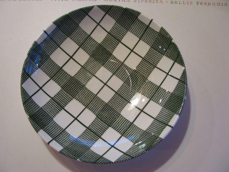 DINNERWARE Hand-Etched Original Heather Plaid Underglaze Soup Bowls-Green Plaid