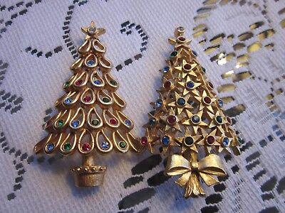 Set of  2 Vintage Christmas Holiday Gold Tone  Crystal Tree Brooches Pins