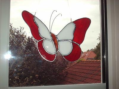 """TIFF. - Fensterbild, Schmetterling , außen rot, """"Handarbeit"""" edel"""