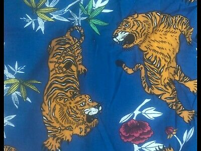 Zara Trafaluc Womens Size L Blue Floral With Tigers Tee Shirt Short Sleeve