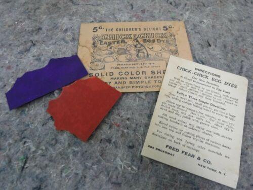 Vintage Chick Chick Easter Egg Dye Envelope W/ 2 Partial Color Sheets