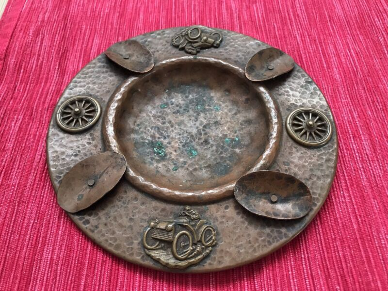 Unmarked Arts and Crafts Hammered Copper Racing Car Ashtray