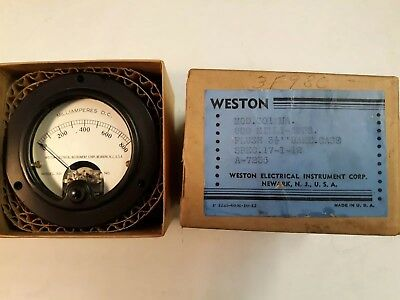 Vintage Nos Weston Electric Instrument Meter Model 301 Milliamperes Dc Gauge