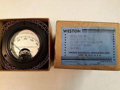 Vintage Nos Weston Electric Instrument Meter Model 301 Milliamperes Dc Gauge