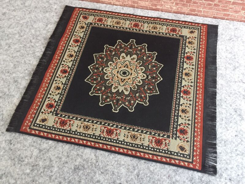 Dollhouse 1:12 Woven Rug - Black And Rust - 9X8""