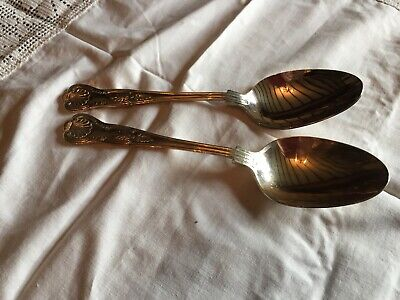 VINTAGE KINGS PATTERN CUTLERY PAIR OF SERVING SPOONS VINERS