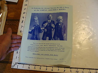 Vintage MARIONETTE Paper: 1930's goethe on trial PAUL BRANN MARIONETTE THEATRE