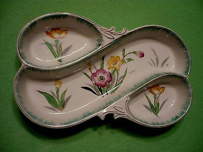 Vintage Japanese sectional dish / trinket tray with colorful FLOWERS & buds.