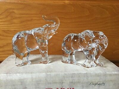 1976 FRANKLIN MINT ANIMALS OF THE ARK ELEPHANT PAIR TWO BY TWO NOAH CRYSTAL BOX