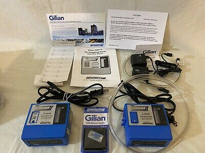 Two Gilian Bdx Ii Air Sampler Pumps Usb Charger Manual Sample Stickers Tested