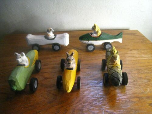 5 Hand Carved Wood Animal Cars Made in China