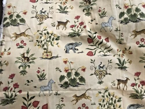 La Menagerie Animal & Topiary Cotton Upholstery Fabric Spectrum 4.5 Yards