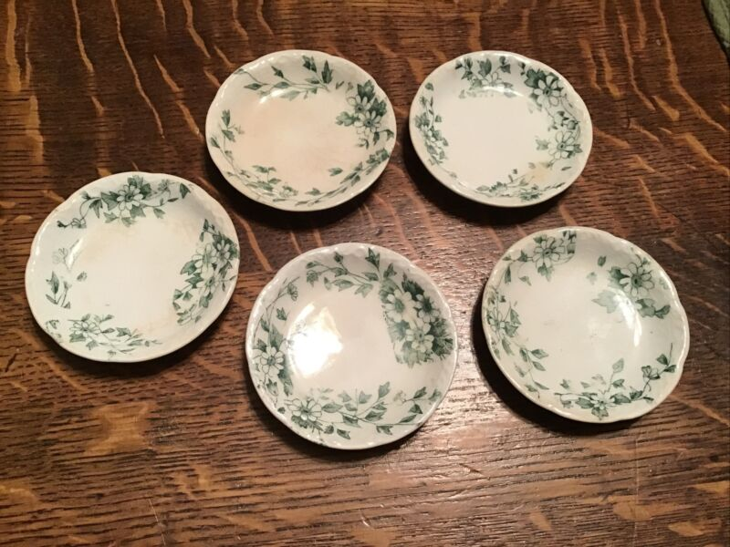 "5 Vintage White China Butter Pats, 3"" Warwick China"