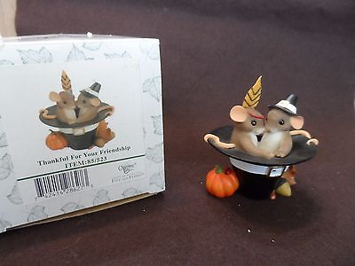 """Charming Tails Figurine Fitz and Floyd """"Thankful for your Friendship"""" 85/523"""