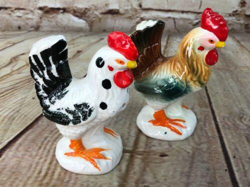 Vintage Chicken Salt & Pepper Shaker Rooster Hen Ceramic Made In Japan