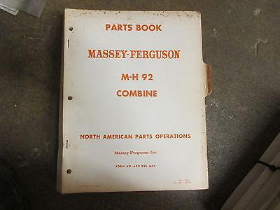 Massey Ferguson 92 Combine Parts Manual